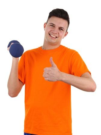 A guy using dumbells, isolated on white photo