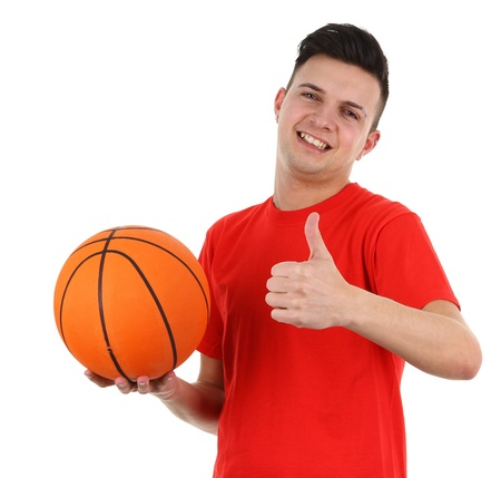 A basketball player with a thumbs up sign, isolated on white photo