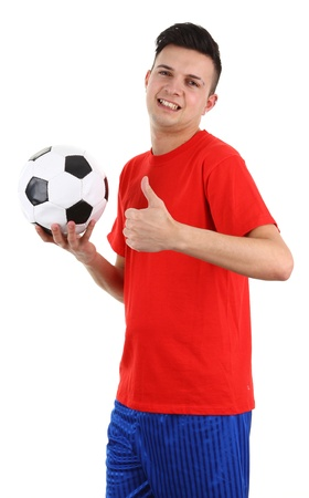 A football player with a thumbs up sign, isolated on white photo