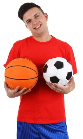 A guy holding a football and a basketball, isolated on white photo