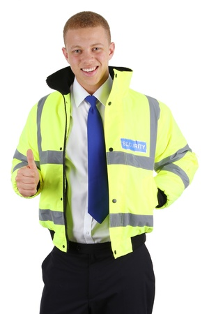 A happy security guard with a thumbs up sign photo