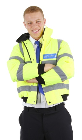 A security guard with his arms folded, isolated on white Stock Photo - 12802113
