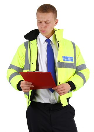 A security guard with a board, checking off the list, isolated on white