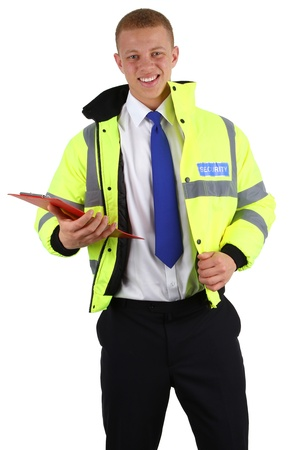 A security guard with a clipboard, isolated on white photo