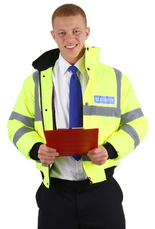 success security: A security guard with a clipboard, isolated on white