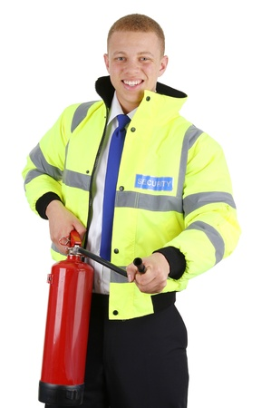 A security guard with a fire extringuisher, isolated on white