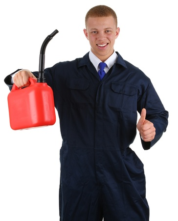 A guy holding a fuel can with a thumbs up sign, isolated on white photo