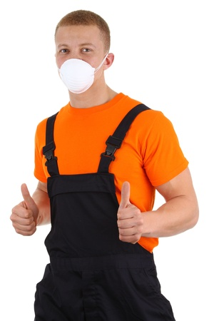 A workman wearing a dusth mask, isolated on white photo