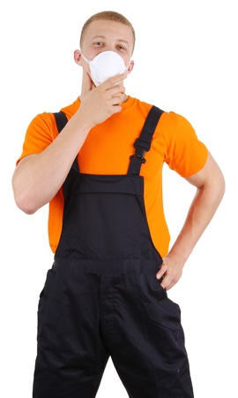A workman with a dust mask, isolated on white Stock Photo - 13071821