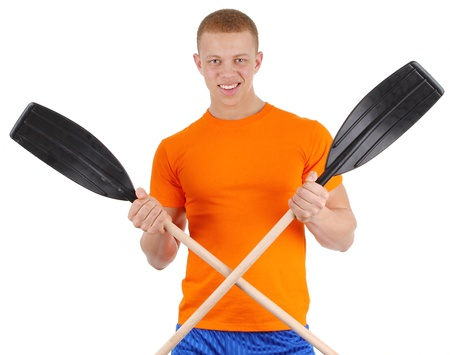 A guy holding two oars, isolated on white