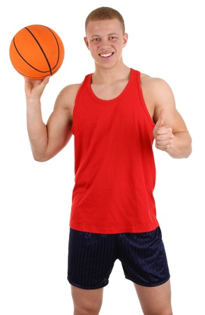 A basketball player, isolated on white photo
