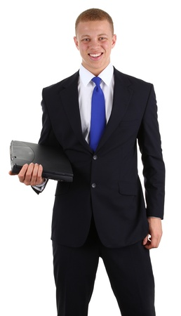 A business guy with a laptop, isolated on white Stock Photo - 13157262
