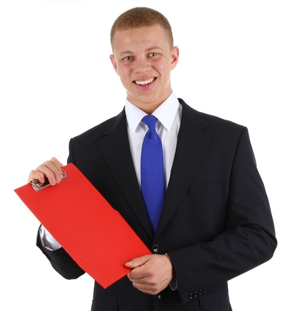 A businessman showing a clipboard, isolated on white