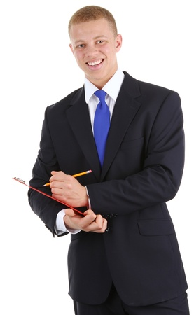 A guy with a clipboard and a pencil, isolated on white Stock Photo