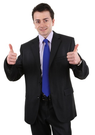 Businessman isolated on white, with a thumbs up sign Stock Photo - 13295239