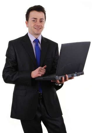 A guy holding a laptop, isolated on white Stock Photo - 13295193