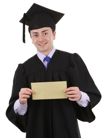 master page: A graduate with an envelope, isolated on white