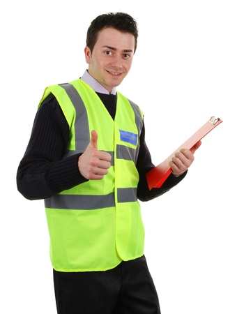 A thumbs up security guard, isolated on white Stock Photo - 13383393