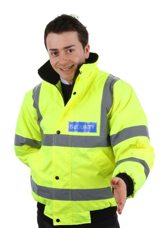 A security guard offering a handshake, isolated on white
