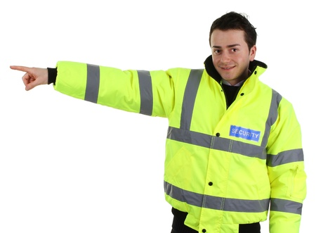 causcasian: A security guard pointing direction, isolated on white Stock Photo