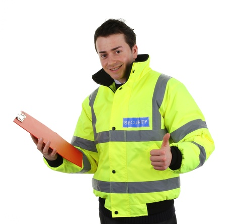 authorise: Security guard with a red clipboard and a thumbs up sign, isolated on white