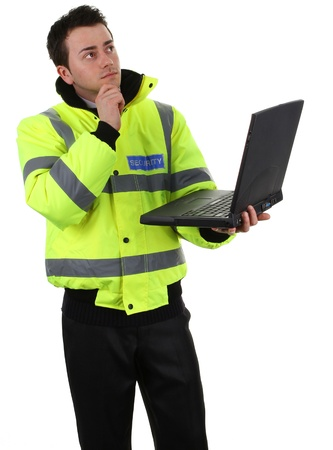 causcasian: Security guard holding a laptop, isolated on white