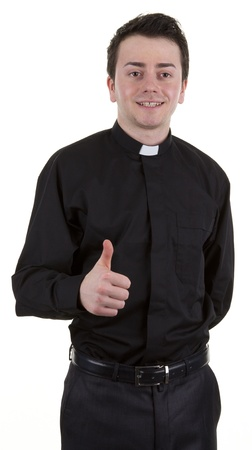 A preist with a thumbs up sign, isolated on white Stock Photo
