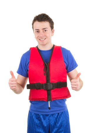 A man wearing a life jacket with a thumbs up sign, isolated on white Stock Photo