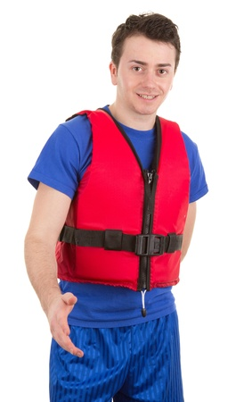 A guy with a life jacket, isolated on white photo