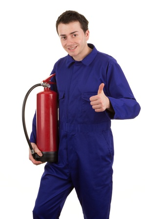 A man with a fire extinguisher, isolated on white