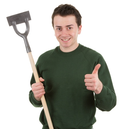 A gardener with a hoe photo