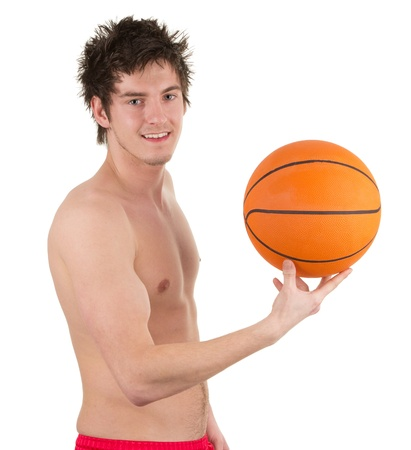 causcasian: A basketball player, isolated on white