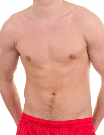 causcasian: Male abdomen without a shirt, isolated on white