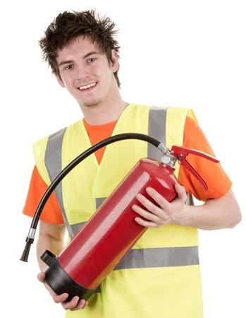 A man holding a fireextinguisher, wearing a hiviz jacket, isolated on white Stock Photo