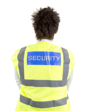 A rear view of a security guard, isolated on white photo