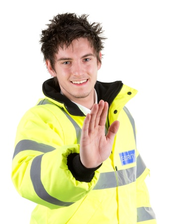hand guards: A security guard with a stop gesture, isolated on white