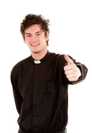 priesthood: A smiling priest with a thumbs up sign, isolated on white