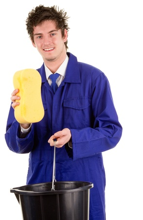 A man with a bucket and a sponge, isolated on white Stock Photo - 14463075
