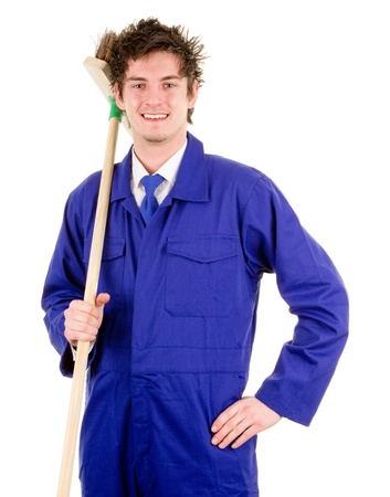 A manual worker with a broom Stock Photo - 14463078