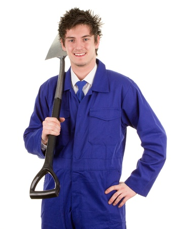 A gardener with a spade, isolated on white