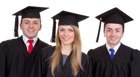 A close up of three happy graduates photo