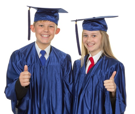 A boy and a girl with a thumbs up sign, isolated on white Stock Photo - 14873904