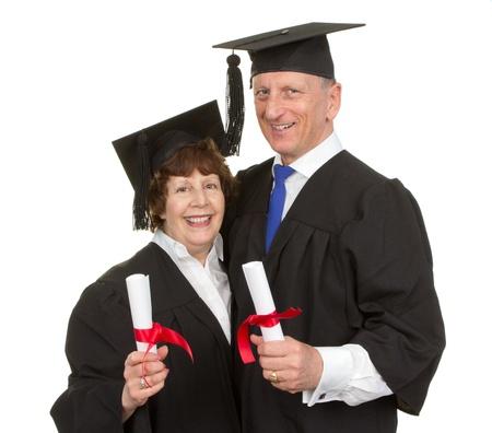 Elderly couple together as graduates