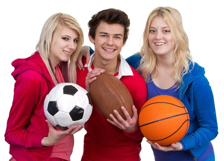 basketball team: Three teenagers together as a team, isolated on white Stock Photo