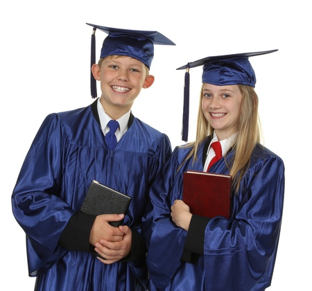 Two Happy Students Holding Books Over White Background photo