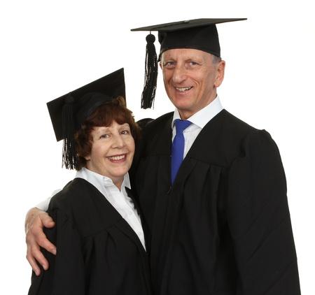 Happy Senior Graduate Couple Isolated Over White Background