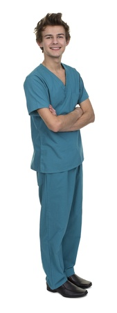Portrait Of Male Nurse Isolated Over White Background
