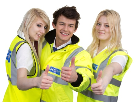 Man And Woman Wearing High-visibility Jacket Showing Thumb Up Isolated Over White Background Stock Photo