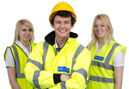 Portrait Of Security Man And Woman Wearing High-visibility Jacket Isolated Over White Background