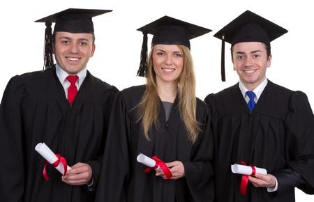 graduacion de universidad: Un trío de los graduados de papiros, aislado en blanco